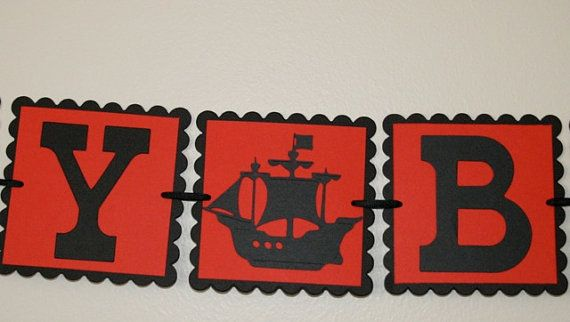 Small Happy Birthday Pirate ship banner by scraptags on Etsy, $10.99