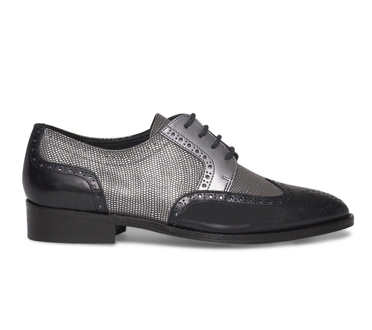 Derby cuir embossé argent et bleu - Derbies - Chaussures femme