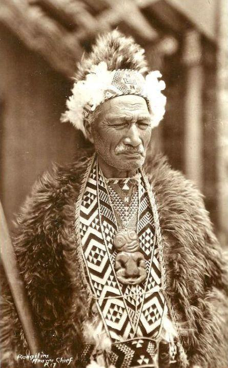 Maori Chief Rangitira Anawa Rppc Amulet New Zealand 50s Te Kani A - Tribus-maories