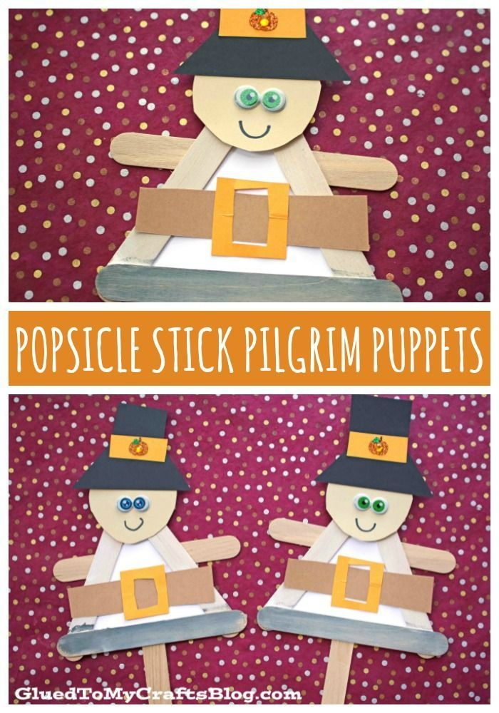 Popsicle Stick Pilgrim Puppet - Kid Craft - Glued To My Crafts #popciclesticks