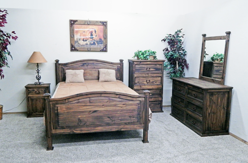 4 PC Rustic Budget Medium Wax Full Size Bedroom Set | Wax, Rustic ...