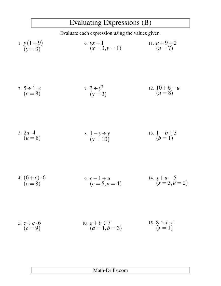 The Evaluating Two Step Algebraic Expressions With Two Variables B Math Worksheet In 2020 Solving Algebraic Expressions Algebraic Expressions Evaluating Expressions