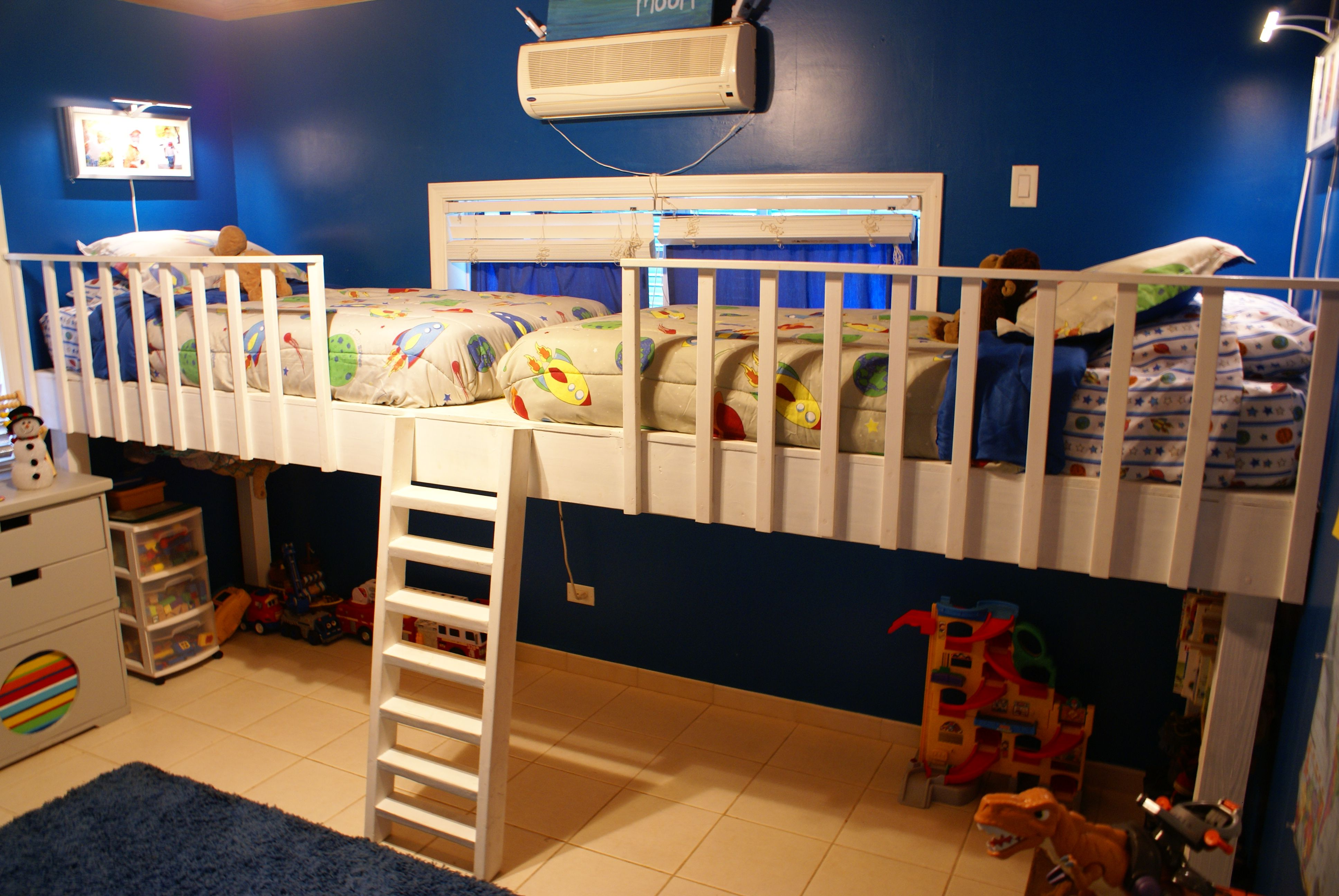 Loft bedroom for boys  Double Loft Bed  Do It Yourself Home Projects from Ana White  ski