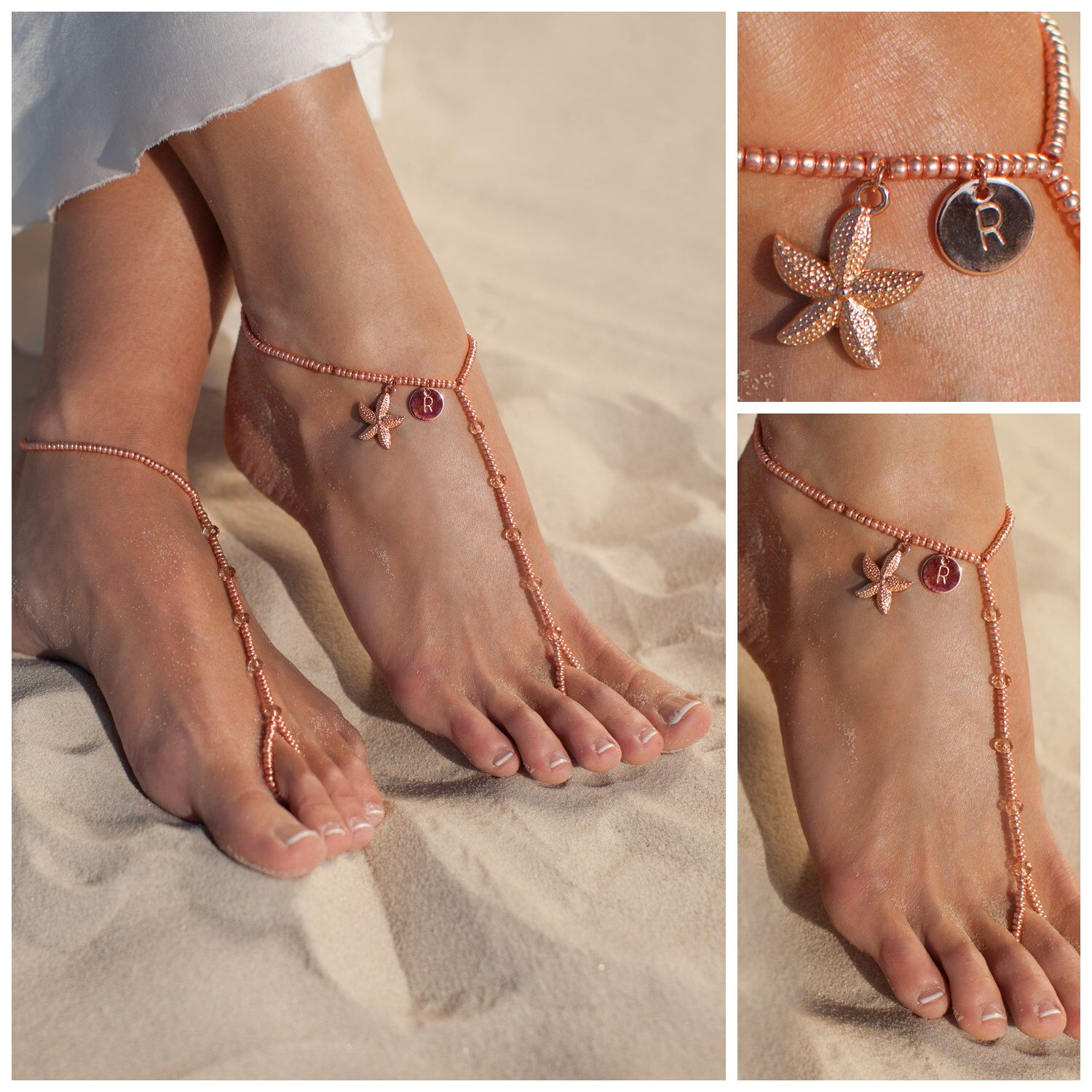 beach jewelry mint wedding elegant sandals beaded foot barefoot anklet green