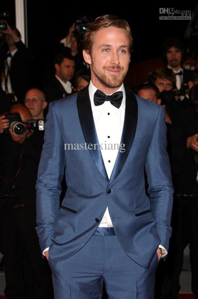 6ffbffd4591e9 Blue Mens Tailored Suit Blazer Trouser Coat Pant Jacket Indo Western ...