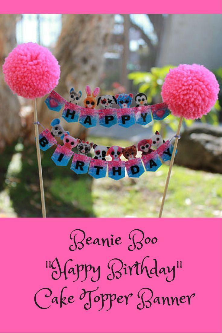 Beanie Boo Happy Birthday Cake Topper #beanieboos #etsy # ...