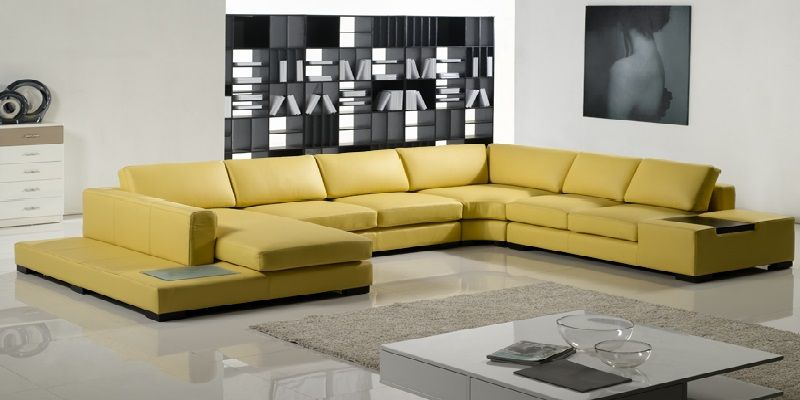 Yellow Leather Sofa Set