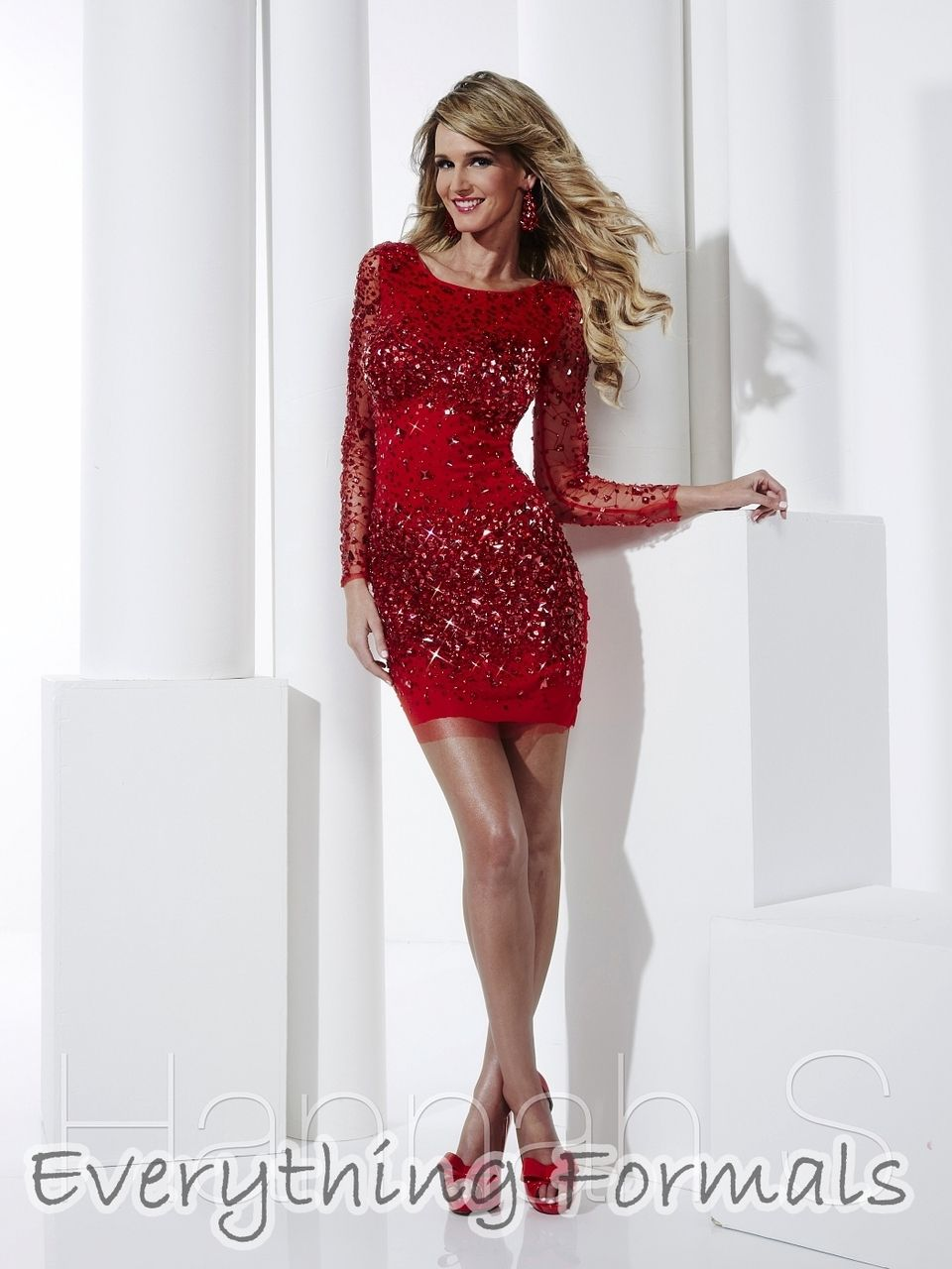 Sophisticated and Gleaming #Rhinestone #Tulle Sleeved Fitted Sheath #HomecomingDress by #HannahS Style 27841~  Guaranteed Low Price: $488.00 (You save $67.23) (http://www.everythingformals.com/Hannah-S-27841/)