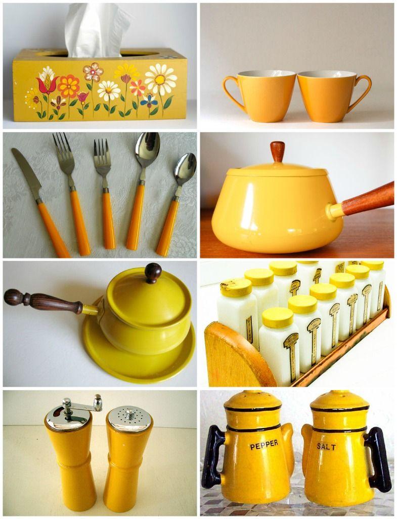 Vintage Mustard Kitchenware With