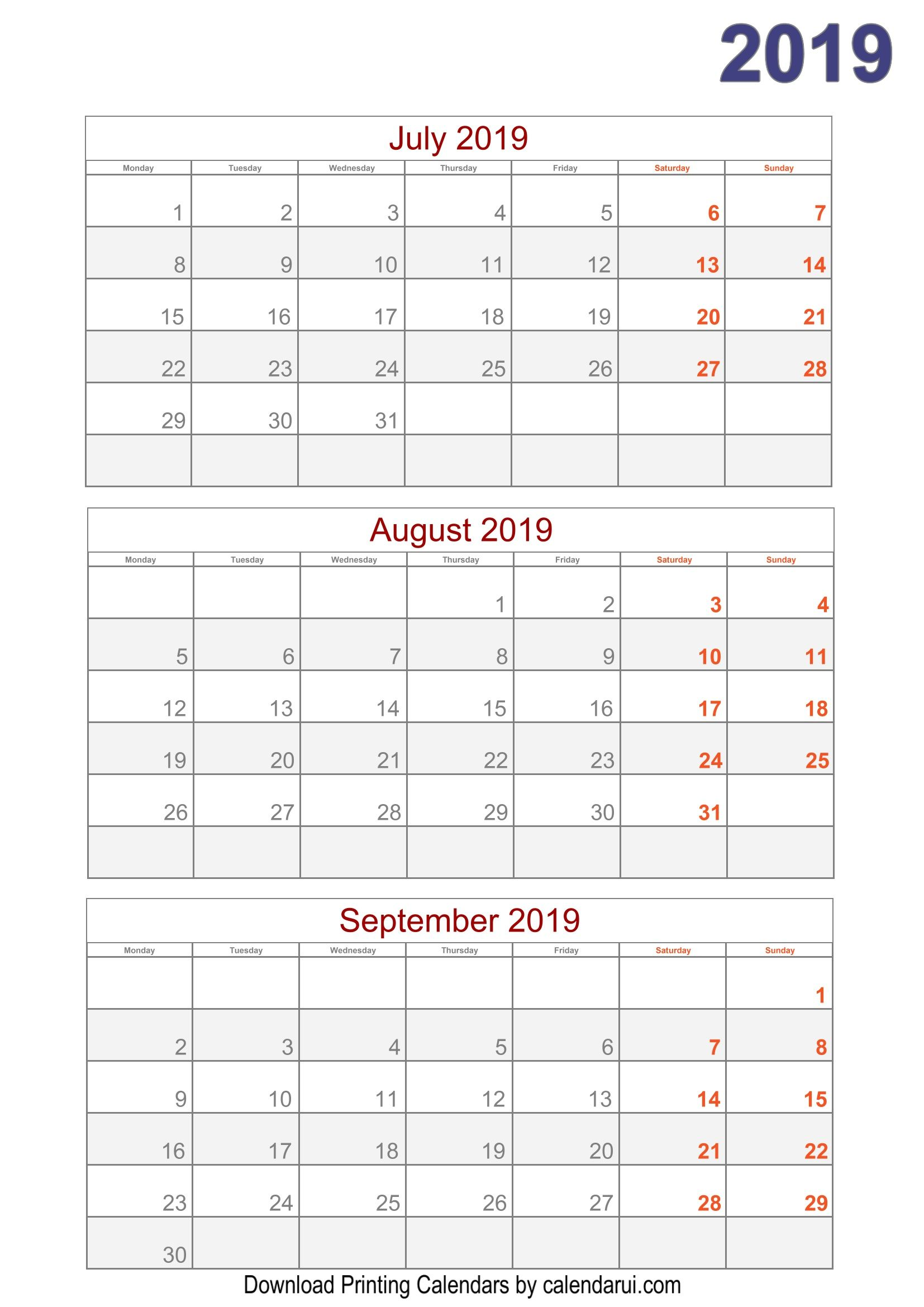 2019 Quarterly Calendar Printable For Free Template Pdf