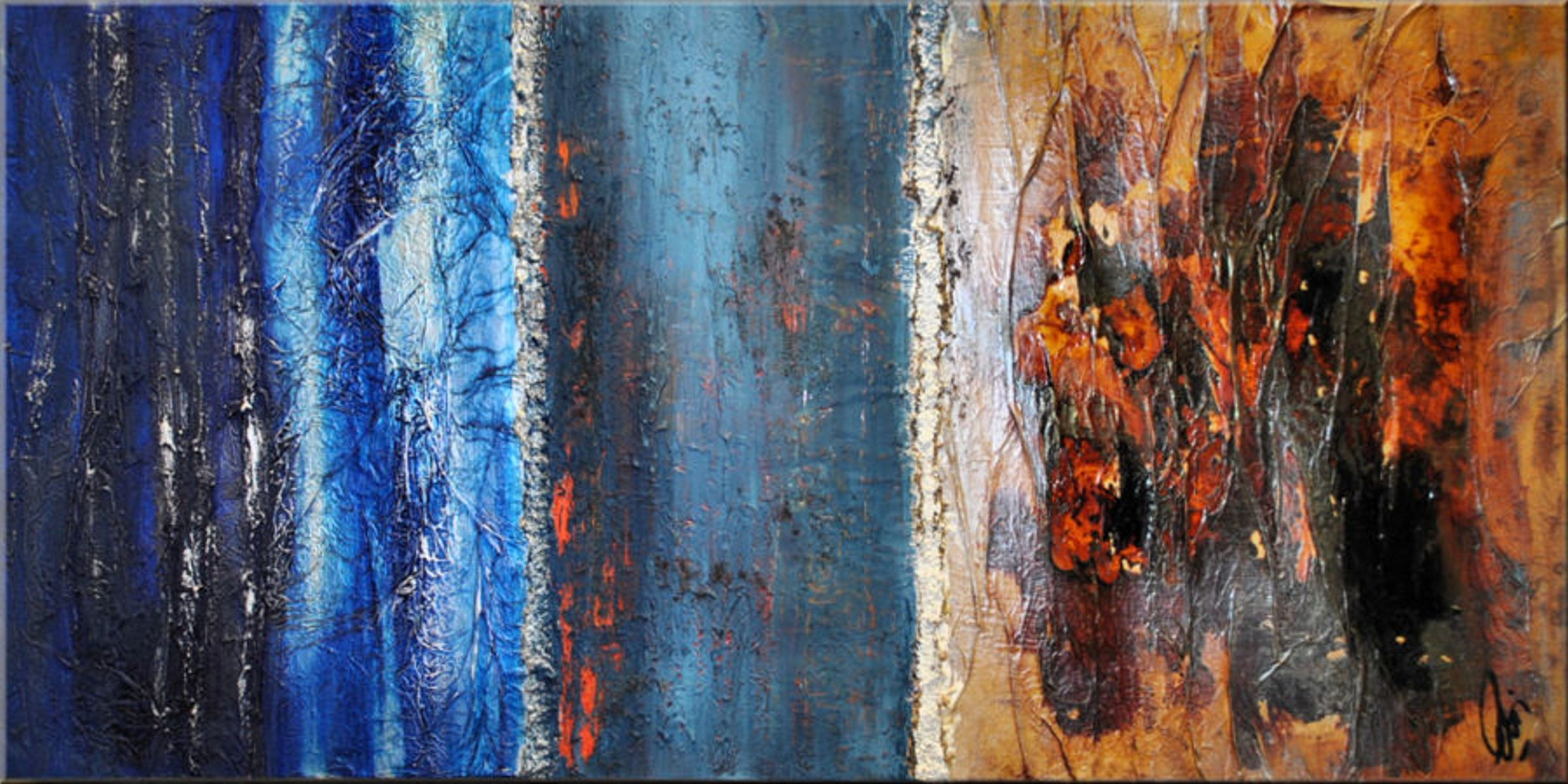 Untold stories abstract acrylic painting canvas wall art blue
