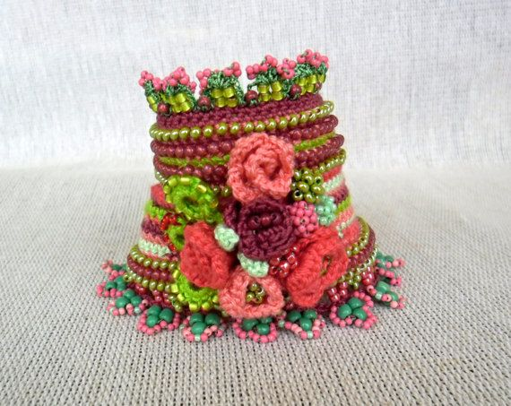 Crochet Cuff Bracelet With Crocheted Roses Freeform Crochet Cuff