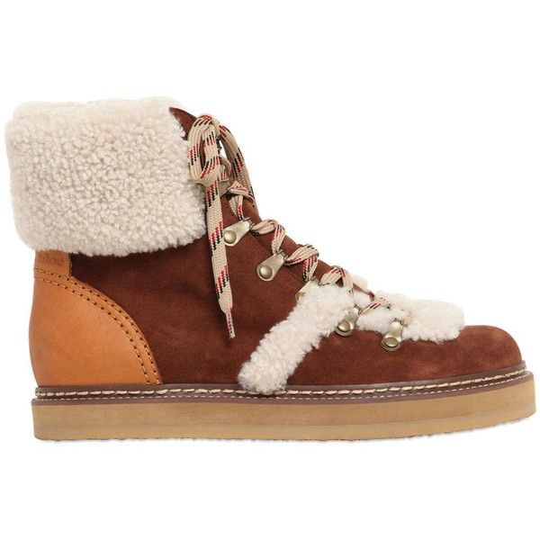Chloé 20MM SUEDE & SHEARLING HIKING BOOTS MfjHsXvw3