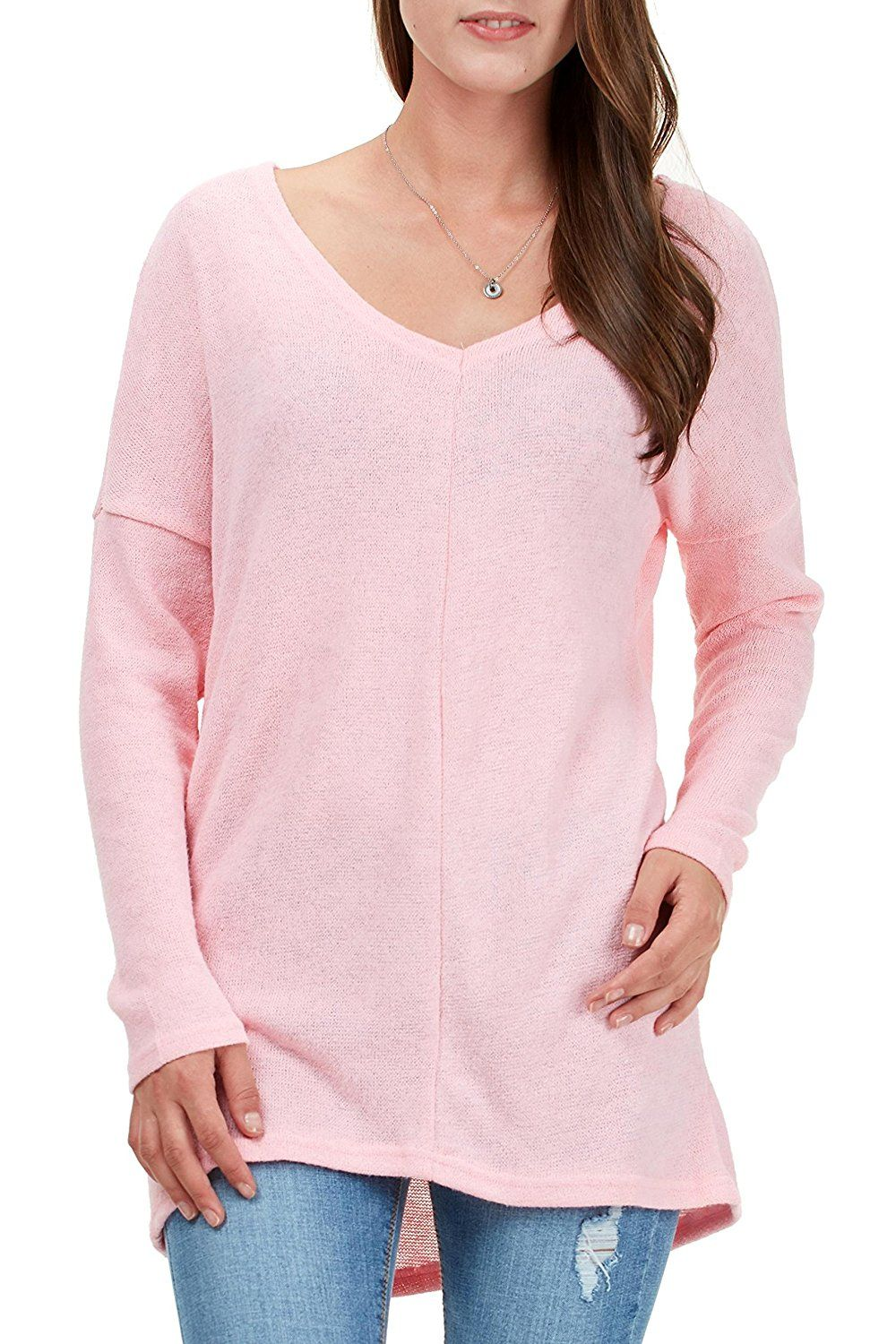 ffa5367f45a Fidus Women's Long Sleeve V Neck Soft Knitted Casual Loose Tunic Tops