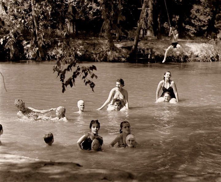 """Children playing in the Wolf River, Rossville, #Tennessee #1942 From """"Old Collierville"""" on FB"""