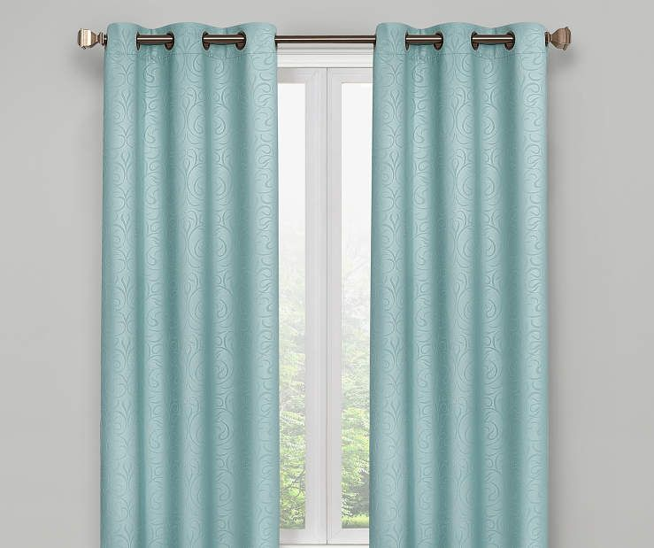 Aqua Scroll Blackout Curtain Panel Pair 63 Inches On Window Room