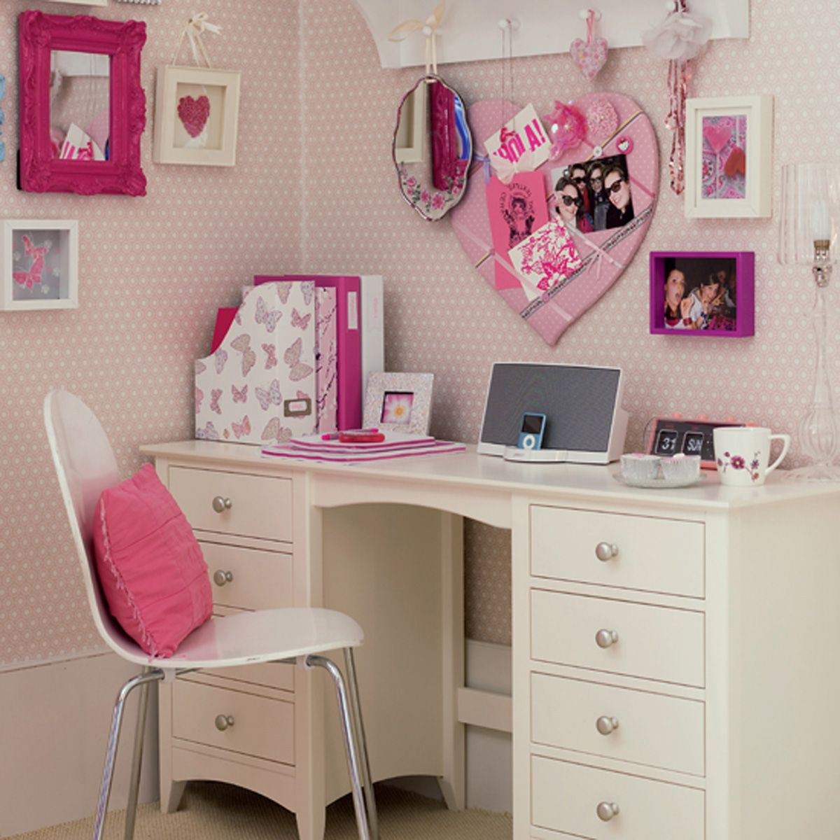 Bedroom Nice Home Furniture Design Of White Desk Designed With Drawers Plus  White Chair And Pink Cushion Also Pink Wall Decoration Theme : Teen Bedroom  ...