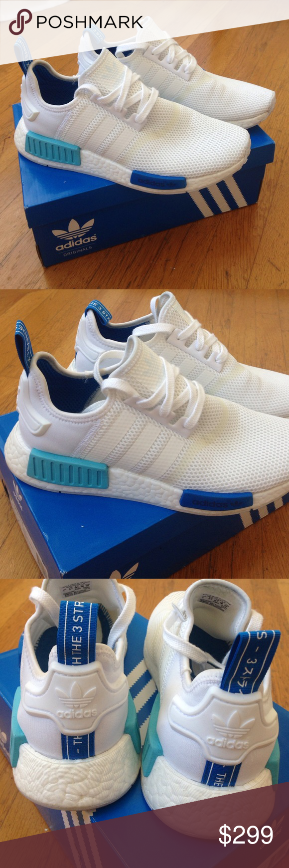 Adidas Originals NMD boost limited size 8 white Limited edition of Adidas  NMD all white with blue accents size 8 worn once Adidas Shoes Sneakers fb69e93f54f7