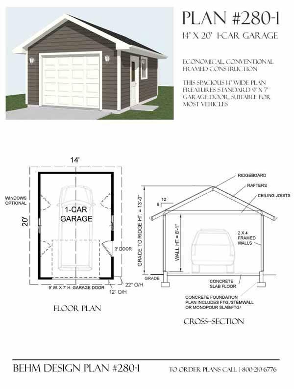 1 Car Garage Plan 280 1 By Behm Design Garage Plans Garage Plan Garage Floor Plans
