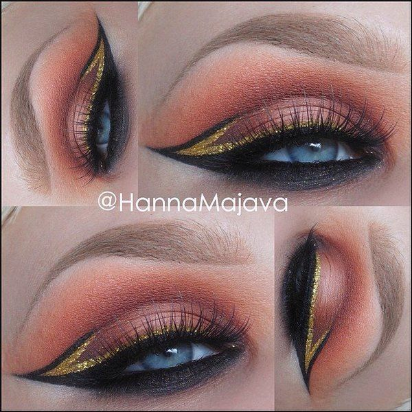 Peach and gold dramatic eye makeup