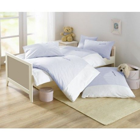 Lorena Streifen Kinder-Bettwäsche Gute Nacht Mako-Batist Blau   Bettwäsche mit Stil – Ihr Shop für anspruchsvolles Schlafen