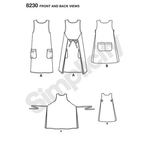 Simplicity Pattern 40 Misses' Dottie Angel Reversible Apron Dress Custom Tabard Pattern