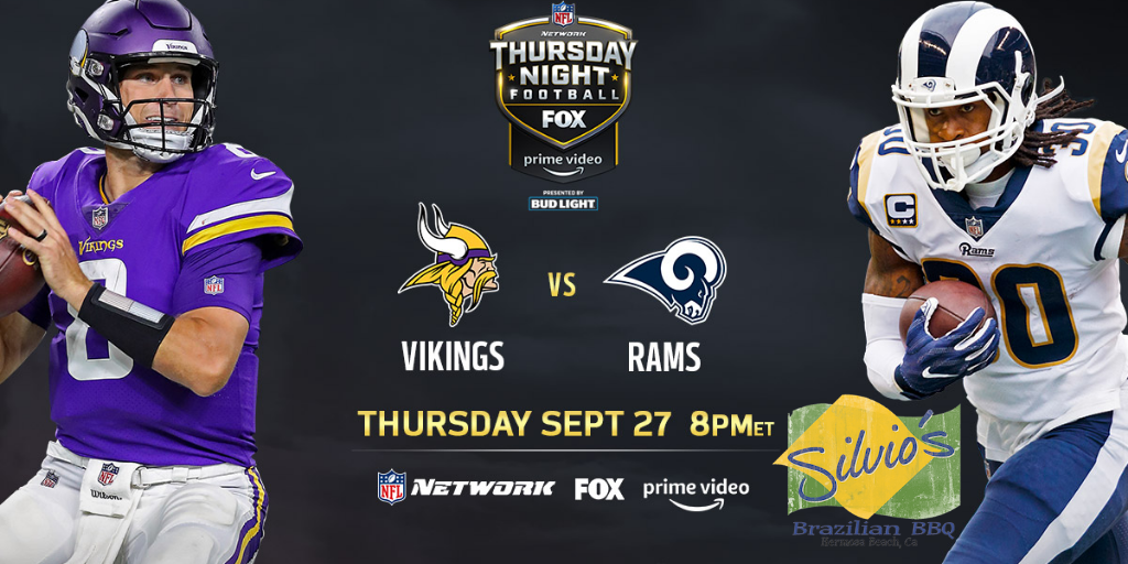Thursday Night Football Tonight Rams Vs Vikings At 5 20pm Happy Hour 3 6 30pm Reverse Hap Nfl Thursday Night Football Thursday Night Football Brazilian Bbq