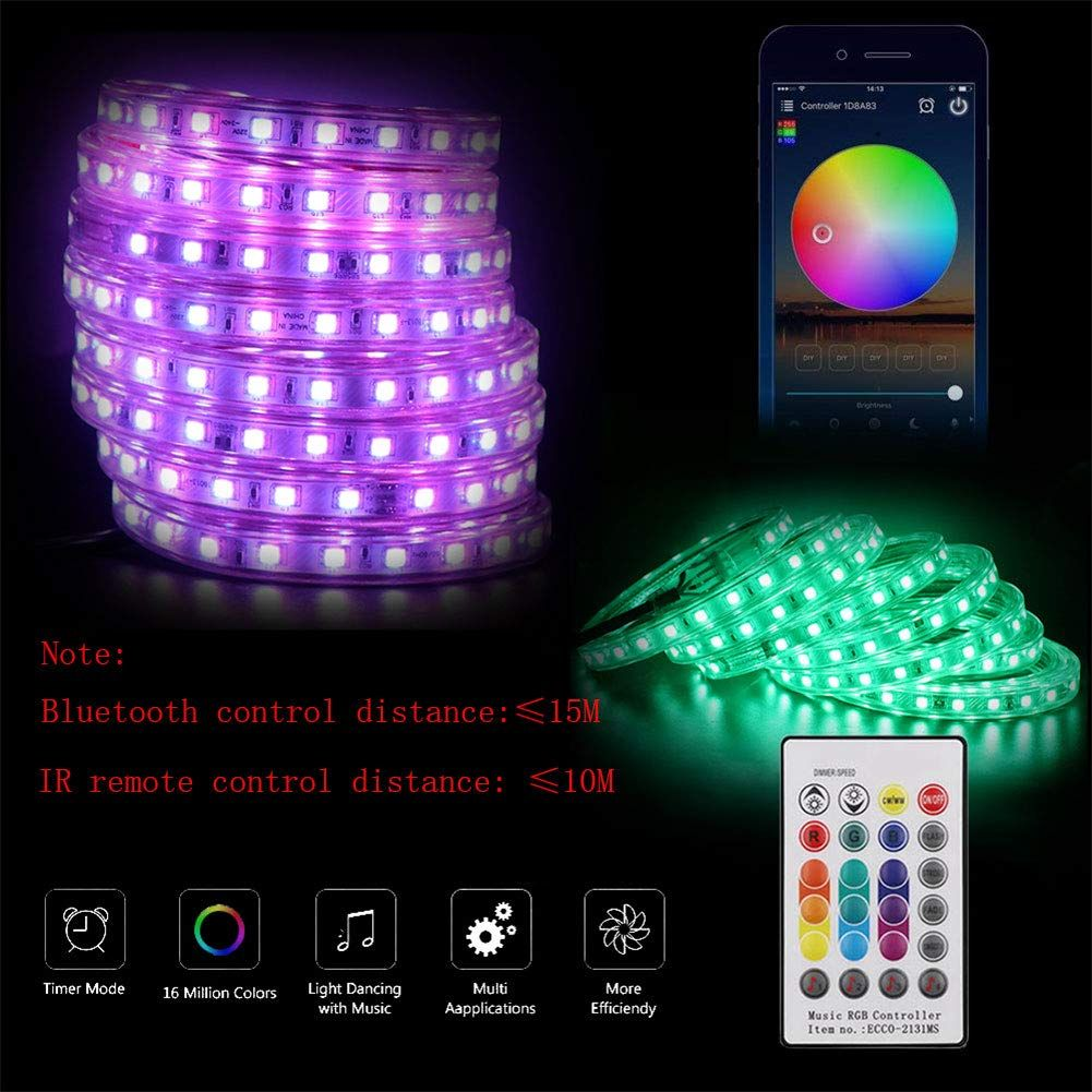 Xunata Led Strip Lights Bluetooth Control Rgb 110120v Smd 5050 60 Leds M Waterproof Rope Light Strip With 24key Ir Led Strip Lighting Rope Light Strip Lighting
