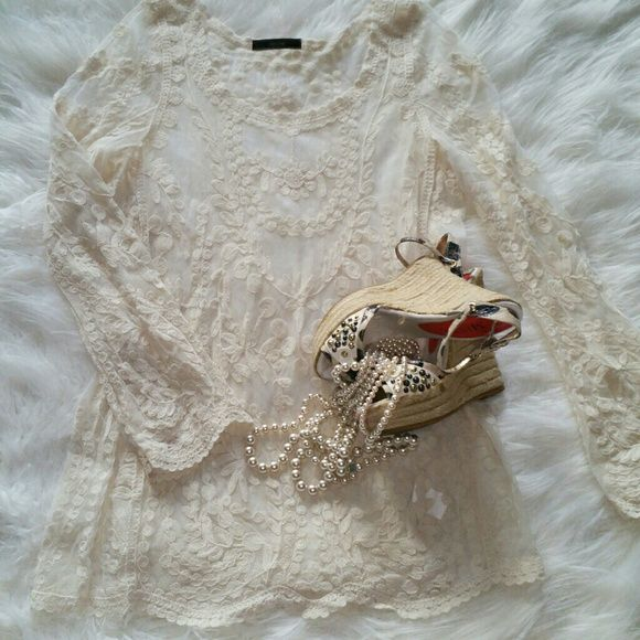 SALEAnthropologie Dulcie Sheer Cream Top Gorgeous Sheer Cream Anthropologie Long Sleeve Top. Incredible Detailing looks great with a camisole or tank underneath. Dress up or with Jean's and boots Anthropologie Tops