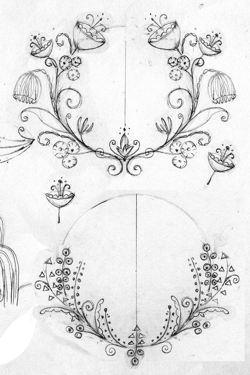 Some wreath sketches I made inspired by Art Deco and Art Nouveau ...