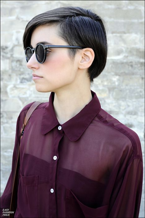 buttoned up sheer burgundy blouse