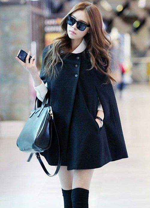 2012 Wholesale Cool Cloak Trendy Women Imitation Melton Outerwear
