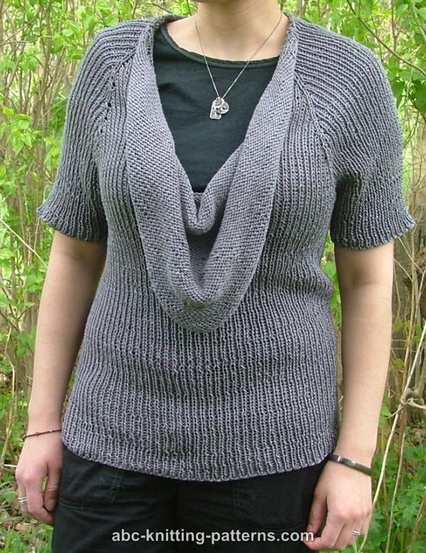 Abc Knitting Patterns Top Down Cowl Raglan Sweater Free Summer