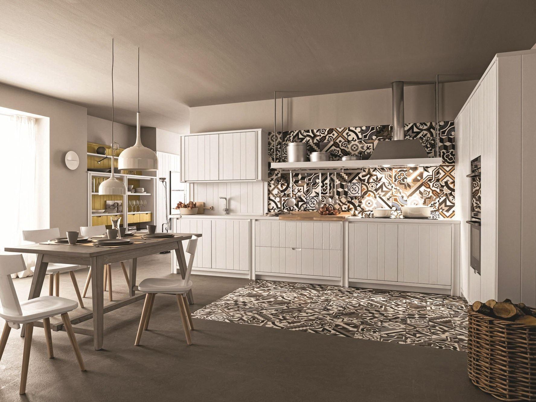 Cucina lineare in abete gesso MAESTRALE 04 Collezione Maestrale by ...