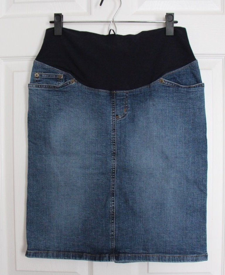 Duo Maternity Blue Denim Jean Skirt Womens Size M Medium Light Wash Cotton Blend #DuoMaternity #StraightPencil