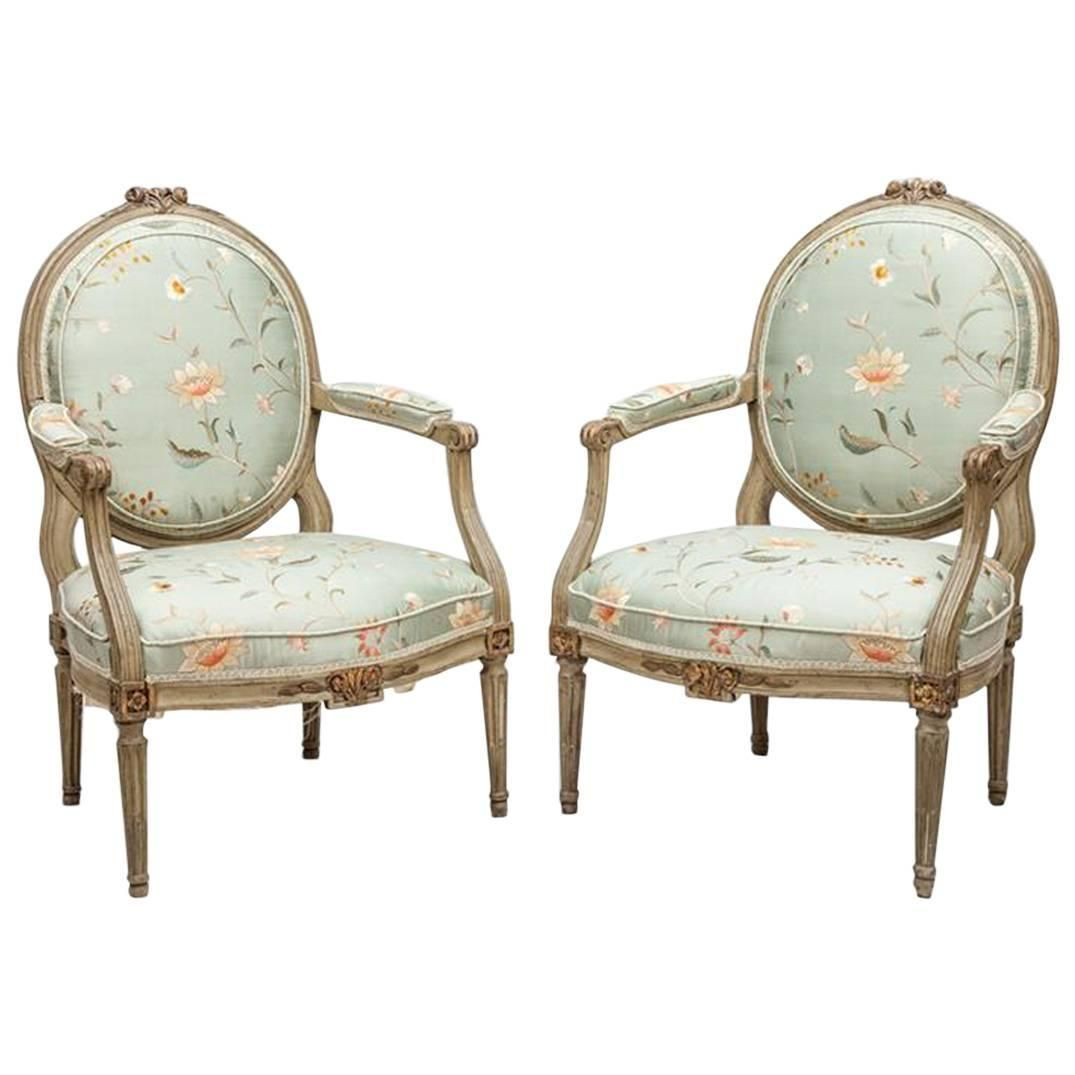 Pair of Louis XVI Style Fauteuils a La Reine | Armchairs and Modern