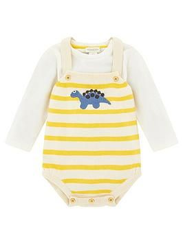 Photo of Baby Boys Duke Dino Knitted Romper & Tshirt – Mustard