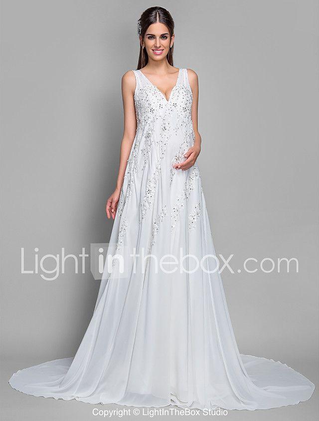 Corte en A Cuello en V Corte Raso Encaje Vestido de novia con ...