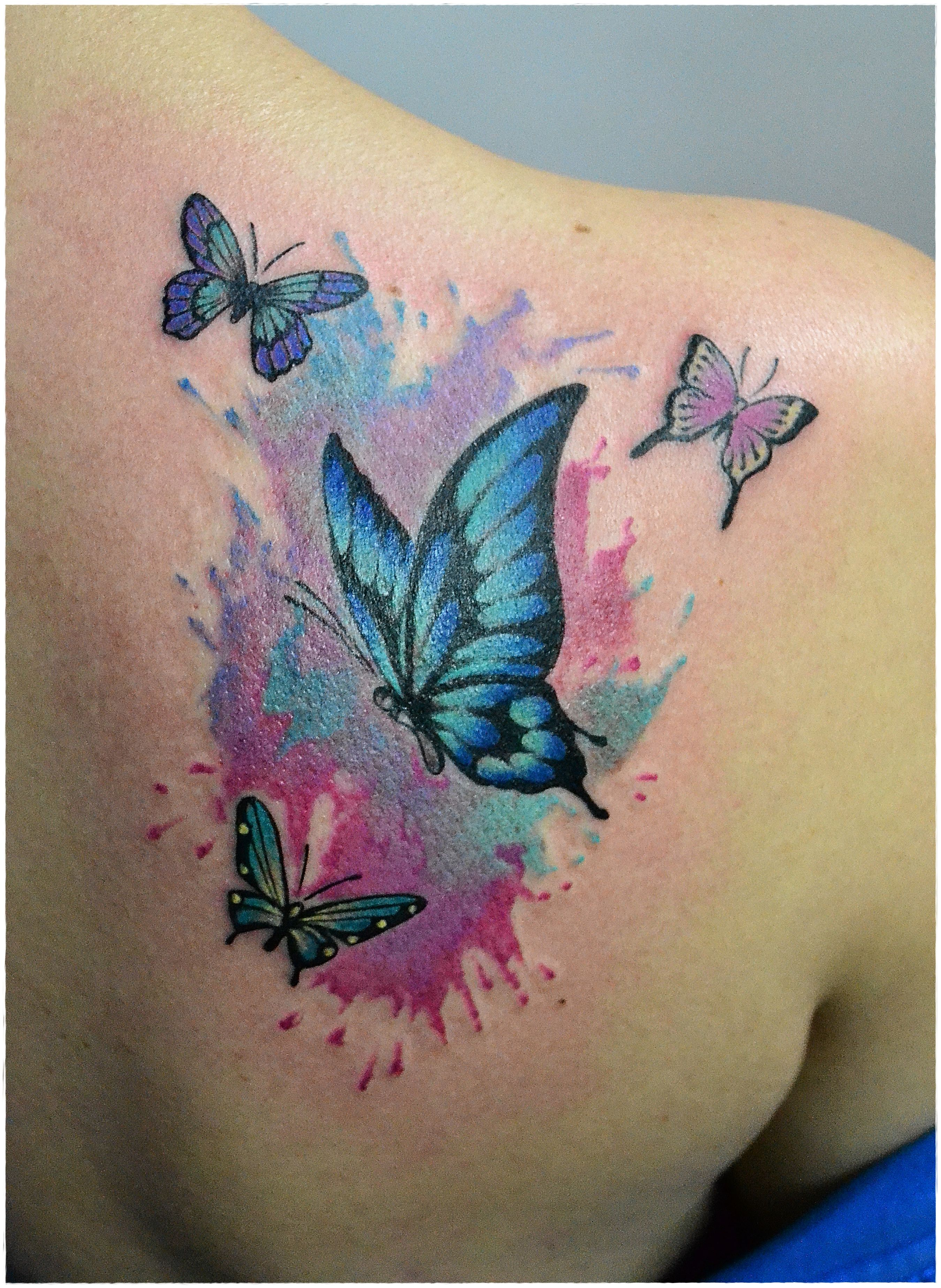 Butterfly star tattoo designs - Watercolor Butterfly Tattoo