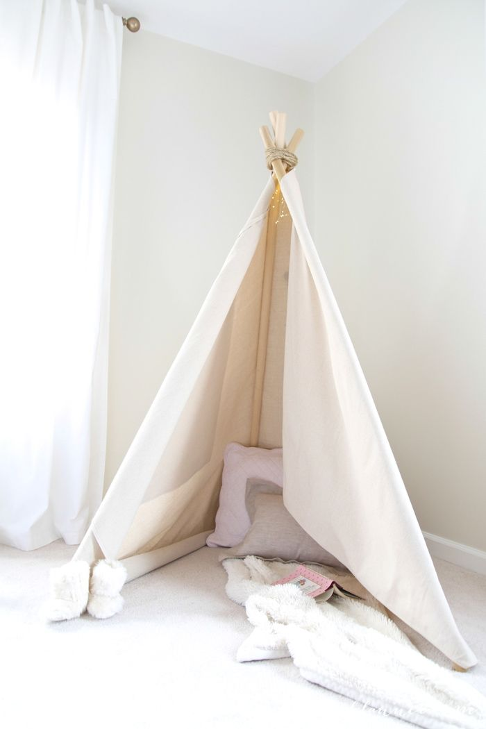 Diy Fabric Teepee No Sew Little girl room decor Aubrey t