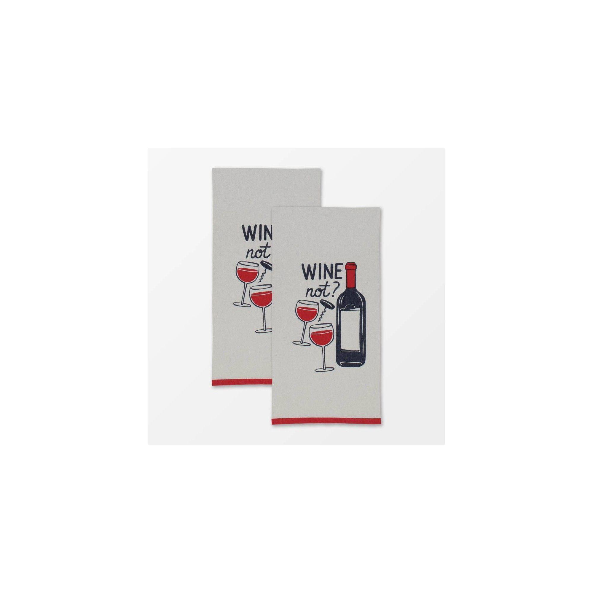Set of 2 Designer Wine Not Print Towel Gray - MU Kitchen in ...