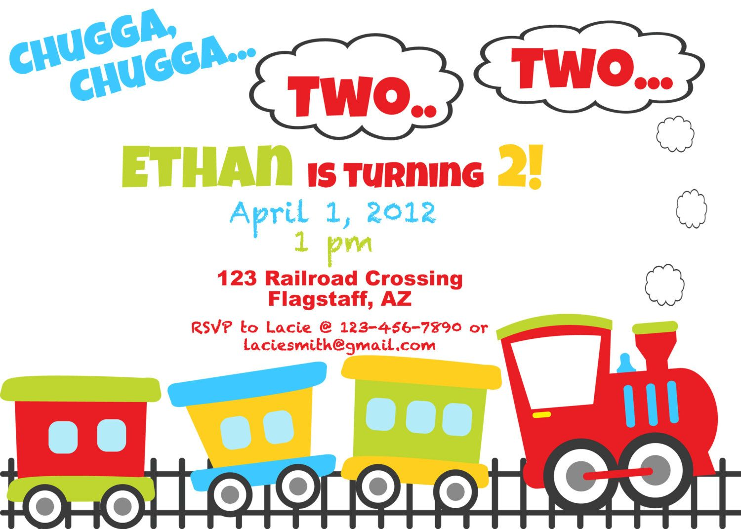 PRINTABLE Train Birthday Party Invite DIY printable party