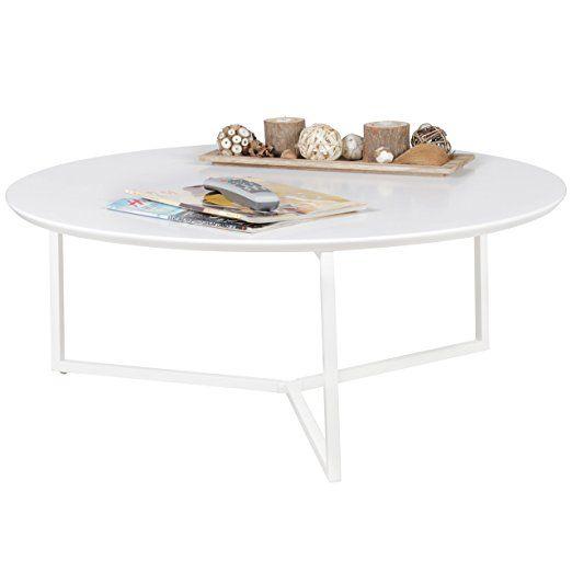 WOHNLING Design Couchtisch MDF Holz weiß matt Gestell Metall ø 80 - designer couchtisch wohnzimmertisch