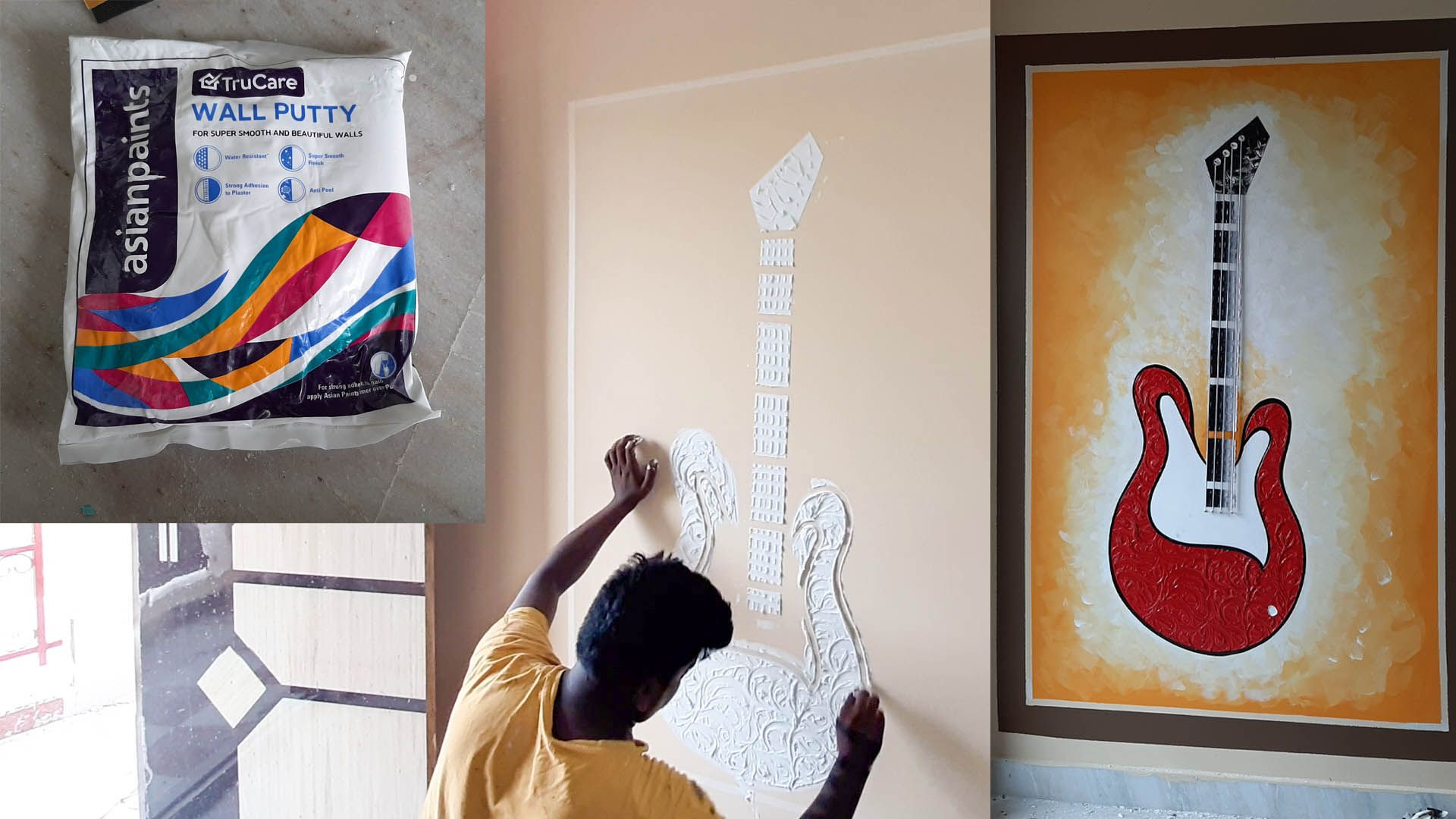 Electric Guitar Wall Mural Art Bass Relief Guitar Art Sculpture Mural Wall Art Simple Wall Art Creative Wall Painting
