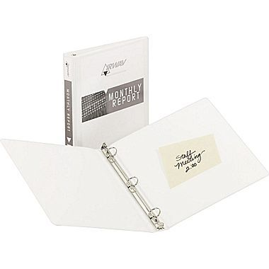 avery economy view binder with 3 round ring white 5741