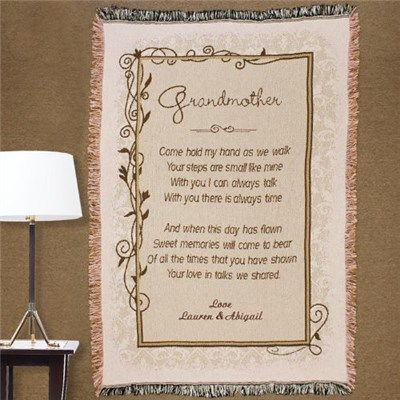 Embroidered Grandmother Throw Blanket | Embroidered Grandmother Throw Afghan