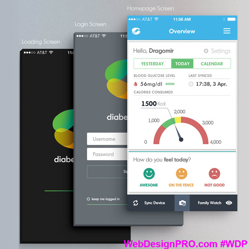 DiabetaCare App. DiabetaCare is Diabetes Management App. The design shows a nice and safe user interface, which is easy to use in all situations by everyone. #WebDesignPro #diabetes #nice #care #easy #mobileapp #apps #design #online