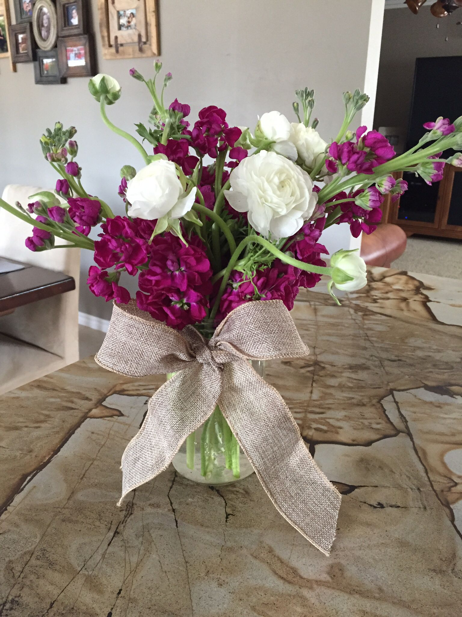 Flowers In Mason Jar Tied With Linen Bow White Ranunculus With