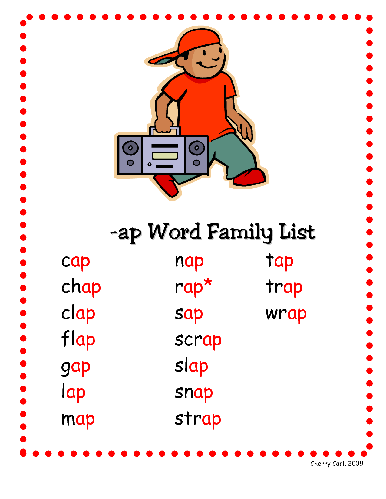 ap word family list word family list rhyming words kindergarten readiness working with