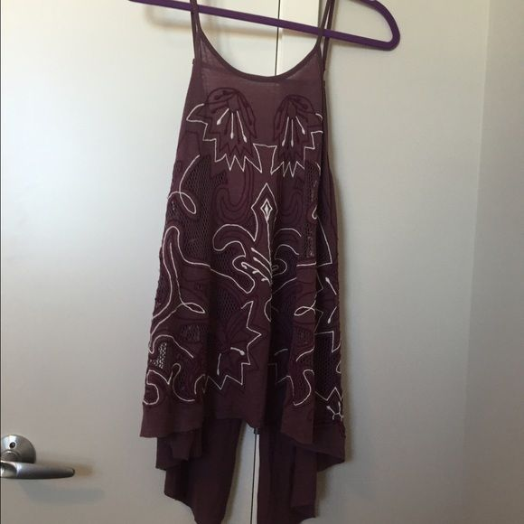 Free People embroidered Tank Top New without tags. Size M, flowy slit back. Free People brand. Please ask any questions :) Free People Tops Tank Tops